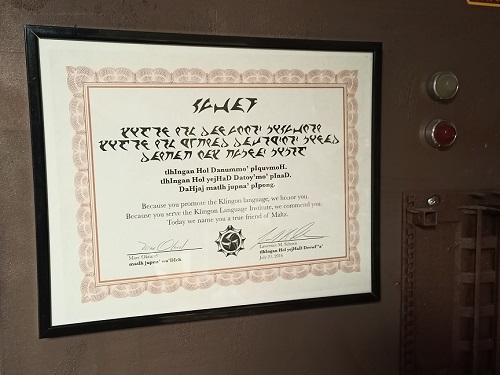 Urkunde des KLI für den Friend of Maltz